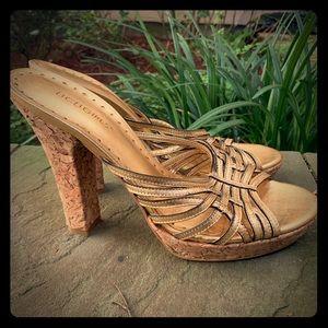 BCBGirls Gold Leather cork platform sandal